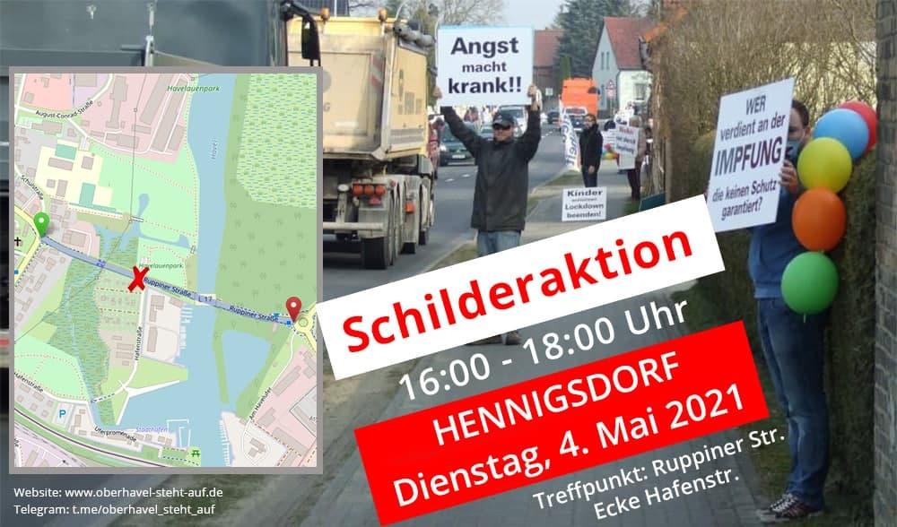 am 04.05.2021 Schilderaktion in Hennigsdorf