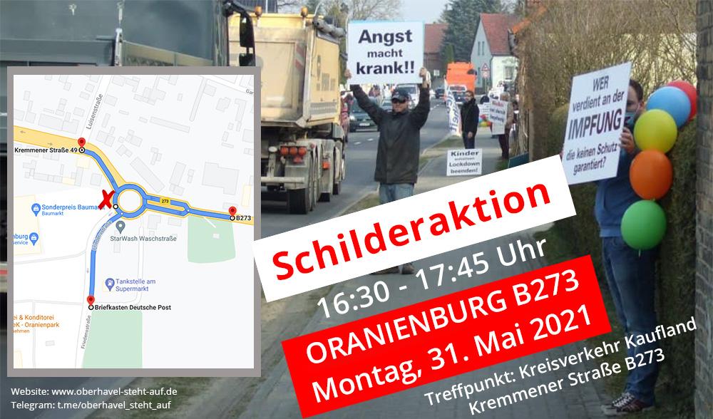 am 31.05.2021 Schilderaktion in Oranienburg, 16:30 - 17:45 Uhr