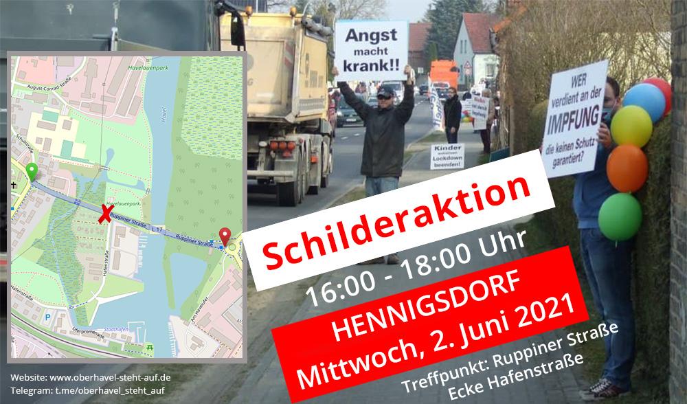 am 02.06.2021 Schilderaktion in Hennigsdorf, 16-18 Uhr