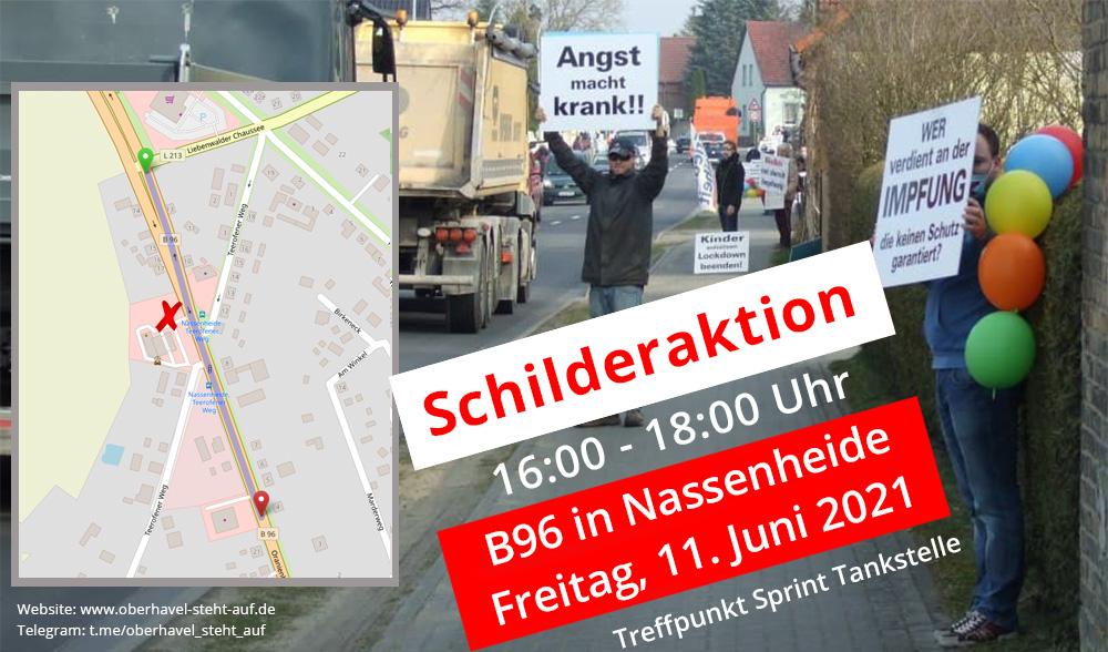 am 11.06.2021, Schilderaktion an der  B96 in Nassenheide