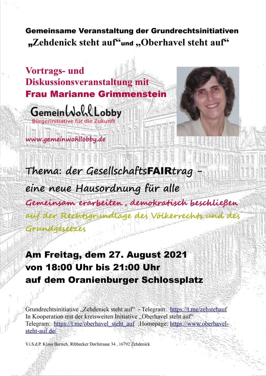 27.08.2021 Veranstaltung Gemeinwohllobby mit Marianne Grimmenstein