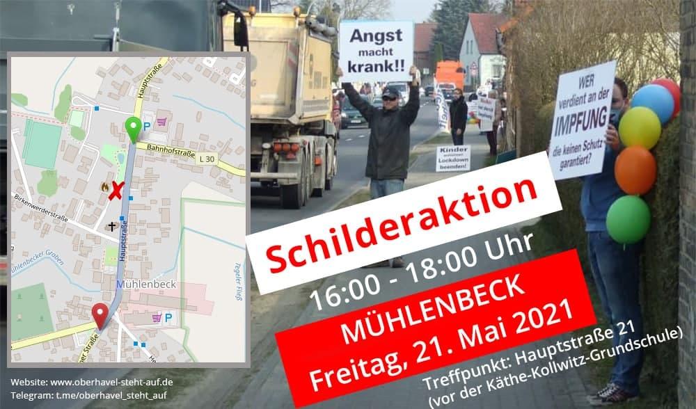 am 21.05.2021 Schilderaktion in Mühlenbeck